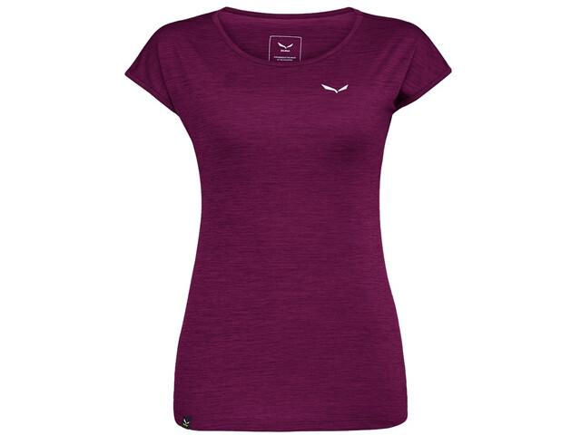 SALEWA Puez Melange Dry T-shirt Femme, dark purple melange